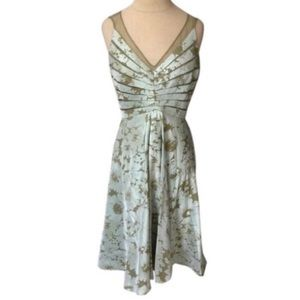 Adrianna Papell Floral Illusion Neck Dress NWOT